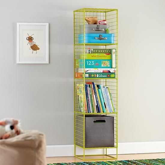 Kids Bookcase: Lime Steel Wire Bookcase in Bookcases | The Land of Nod