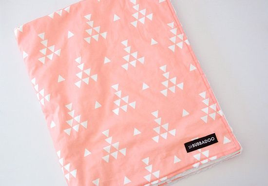 NEW baby blanket coral teepee and white bubble dot by SirBubbadoo