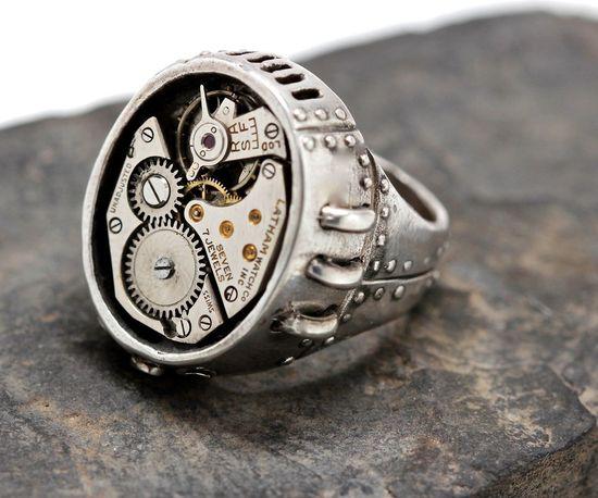 Steampunk ring watch