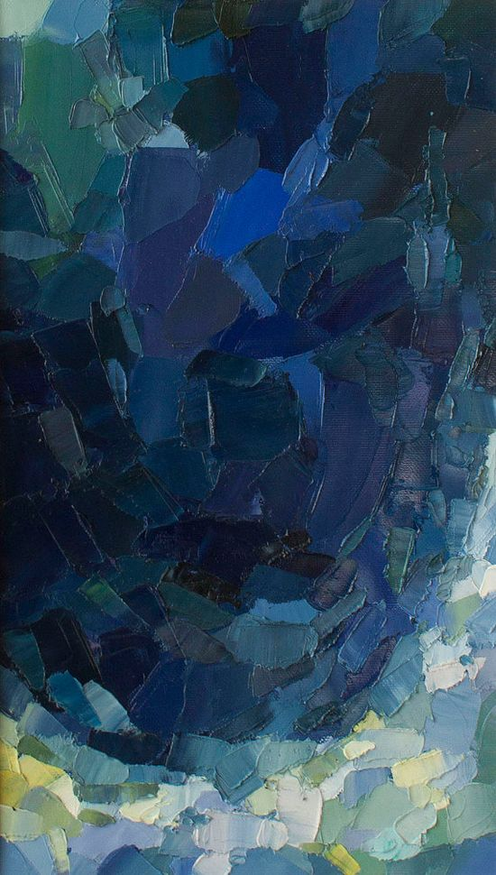 Nocturne: Ocean - Original Oil Painting in deep blues and foamy light blues and greens (37.5x21.5 cm - app. 14.8x8.5 in).  via Etsy