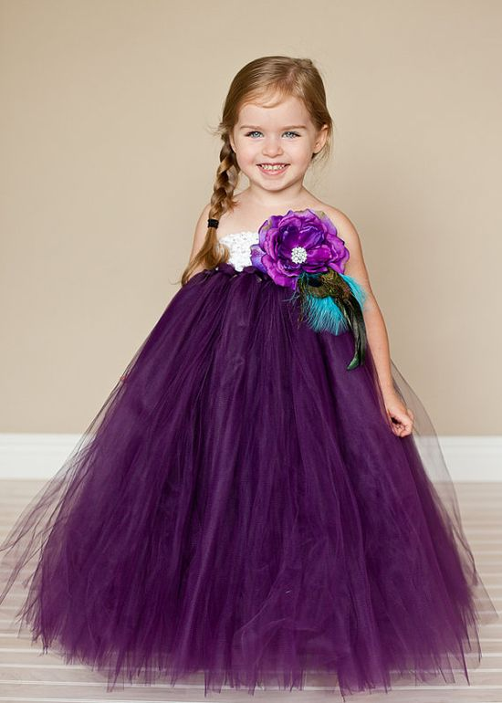 Plum  Flower Girl Tutu Dress with Vintage by TheLittlePeaBoutique, $128.00