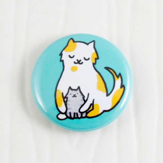 Baby Cats Hug Button on Etsy, $2.00