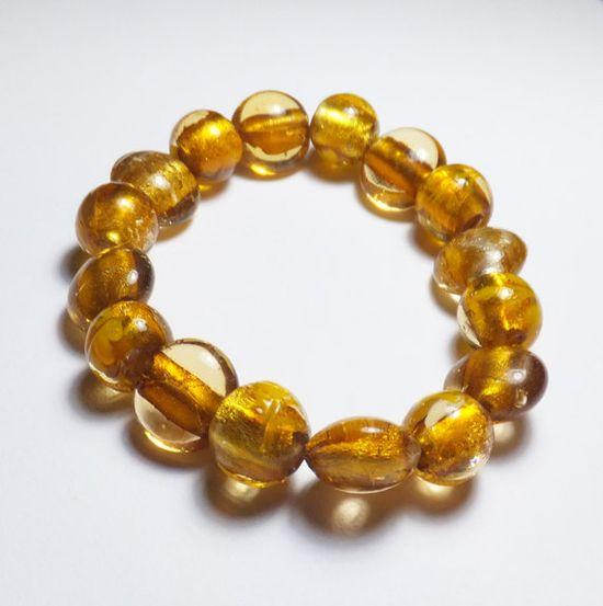 Gold Lampworked Glass Beadwork Stretch Bracelet by tzteja on Etsy, $10.00