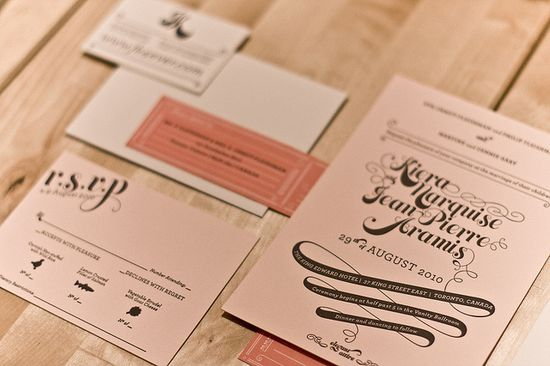 Lovely letterpress wedding invitations