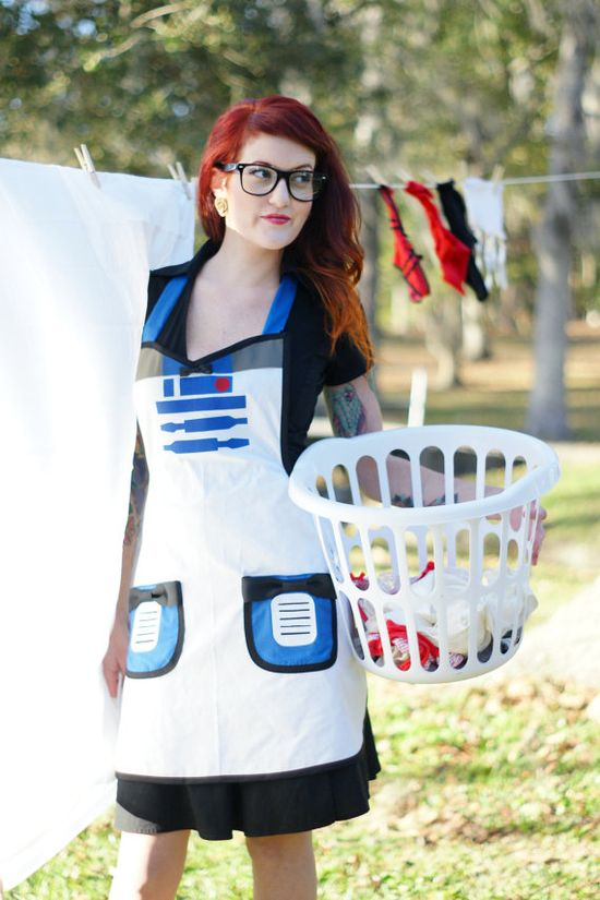 r2d2 inspired cosplay Cooking Apron costume by HauteMessThreads,