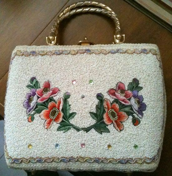 Vintage wicker purse beaded flowers on sides hand by BraidedWood, $45.00