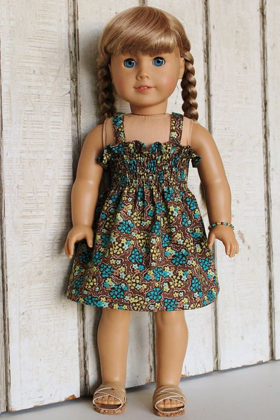18 inch Doll Clothes Shirred Sundress with Bracelet Brown Floral