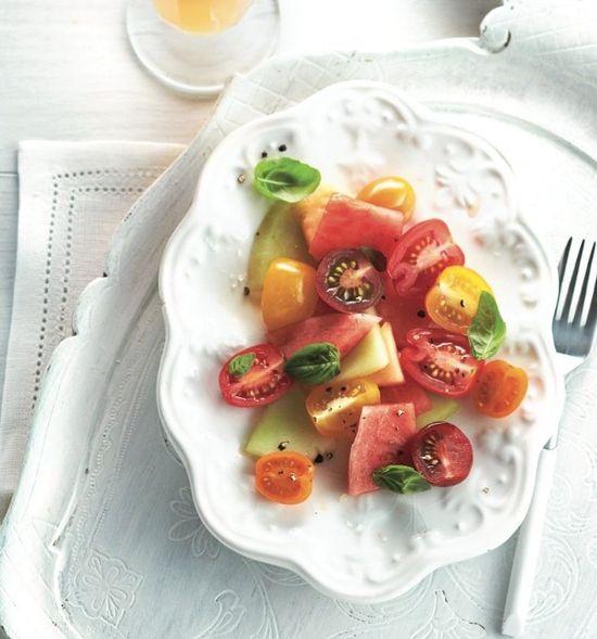 Crisp melon and tomato salad recipe