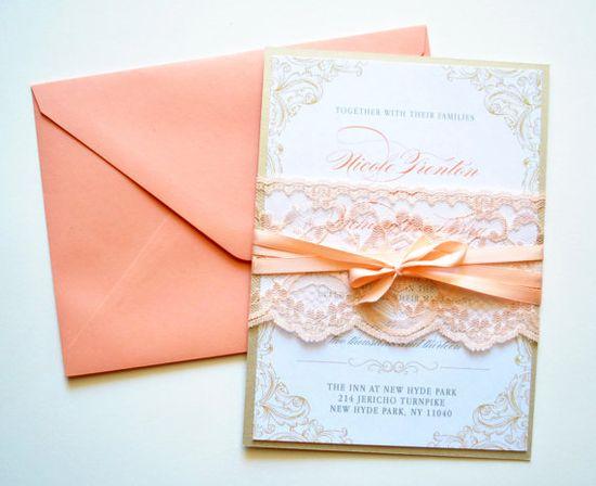 Peach Lace Wedding Invitations, Rustic Lace Wedding Invitations, Lace, Rustic Wedding Invitations, Peach, Peach Invitations