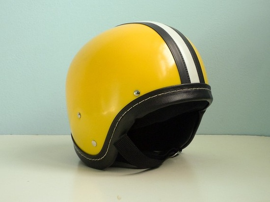 Vintage motorcycle helmet yellow black white stripe