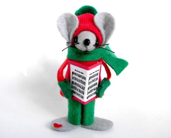 Caroling Boy Mouse Christmas Ornament felt mice  gift by Warmth,