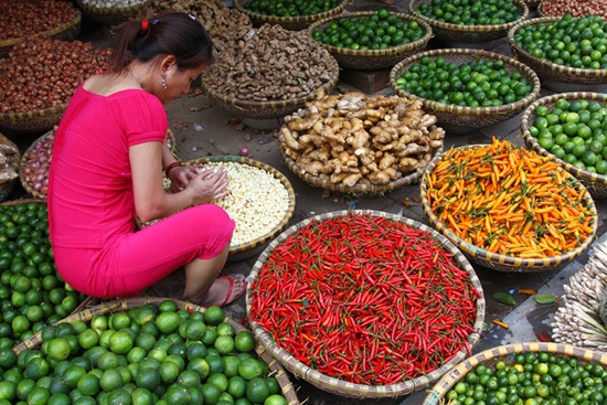 Local market in Hanoi--Photo by Bertrand Linet