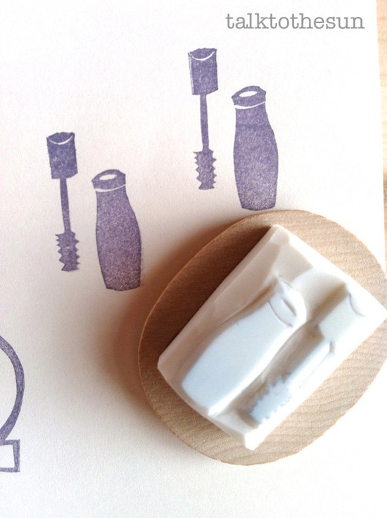 mascara rubber stamp  hand carved rubber stamp  by talktothesun