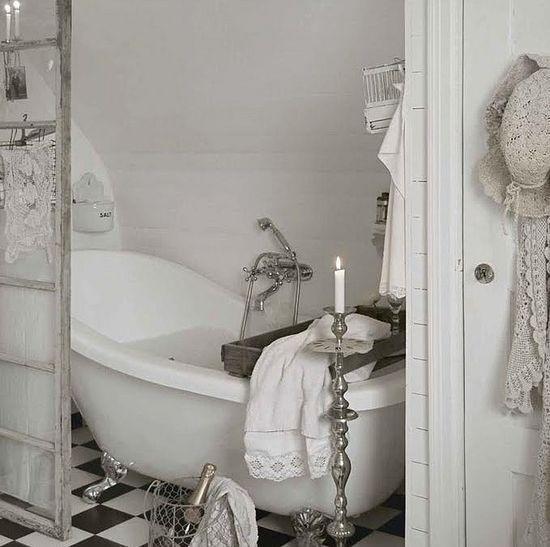 White shabby chic country style romantic bathroom. by princess 83, via