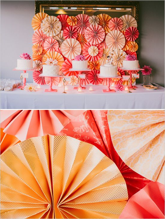 orange and pink cake table