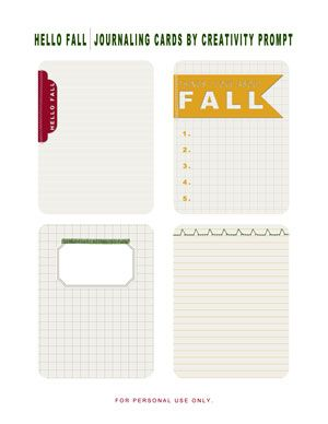 Free Printable – Hello Fall Journaling Cards