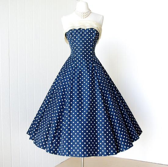 ~vintage 1950's dress ...classic WILL STEINMAN ORIGINAL blue & white polkadot full skirt pin-up party dress with attached crinoline~