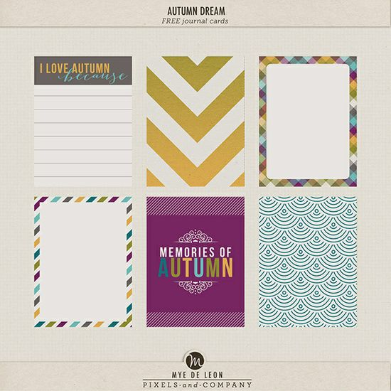 autumn dream journal cards freebie for project life