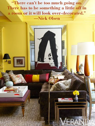 "Nick Olsen: ""There has to be something a little off in a room or it will look over-decorated."" #eclectic #chic #ideas"