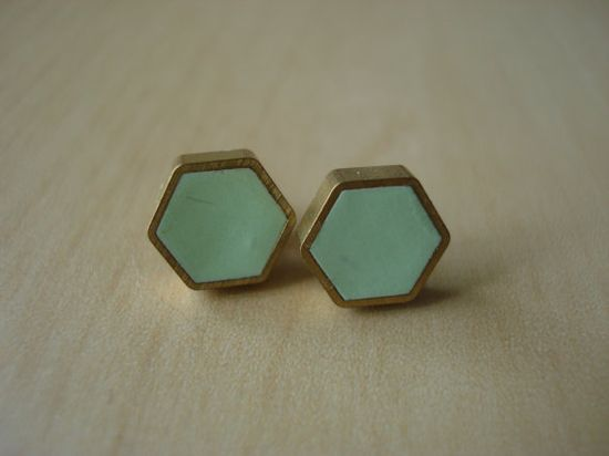 mint and brass studs