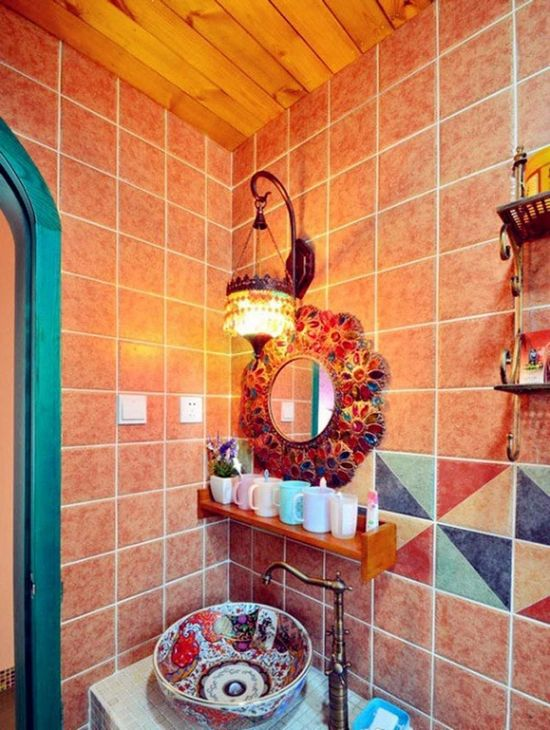 bright #bohemian bathroom