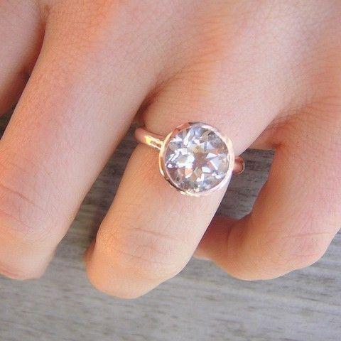 Glam Girl Rock Fetish in 14k Rose Gold with Prasiolite Green Amethyst Gemstone Solitaire Ring