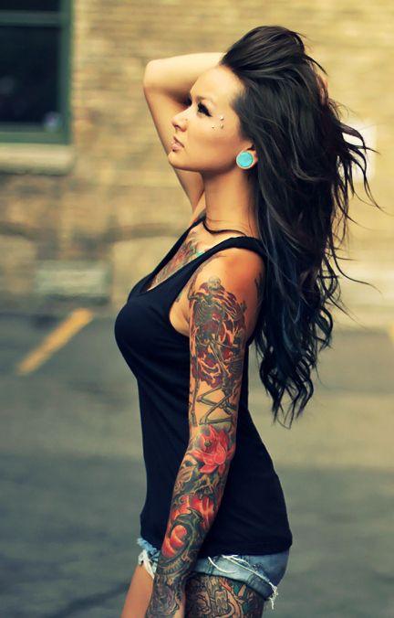 .pretty hair.. pretty girl...pretty tattoos!
