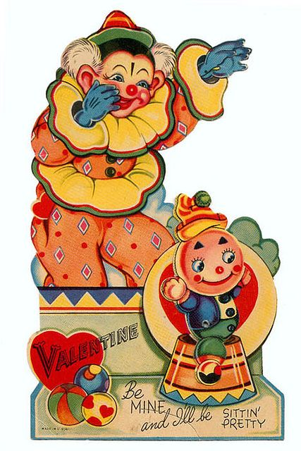 Vintage Valentine: Clown and Creepy Doll by pageofbats, via Flickr