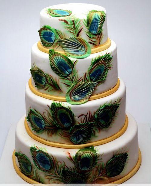 peacock wedding cakes ideas