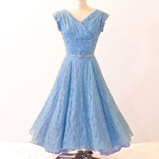 Vintage 50s Dress Teal Embroidered Organza 1950s by daisyandstella, $95.00