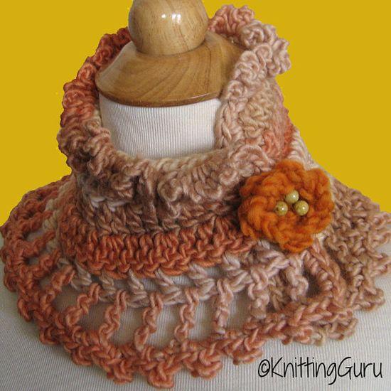 Autumn Hues Crochet Lace Cowl Collar Cape with Flower Brooch by KnittingGuru.