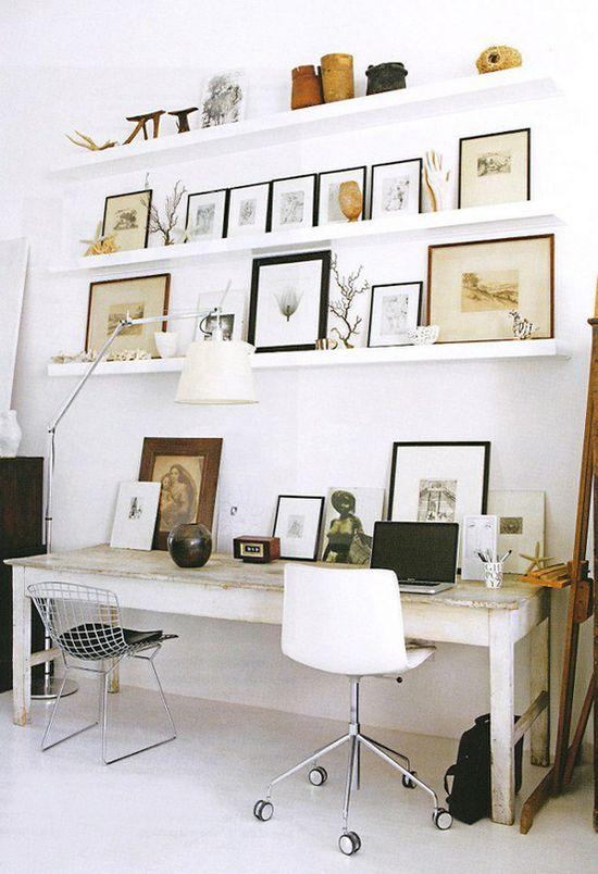 Desk shelving.