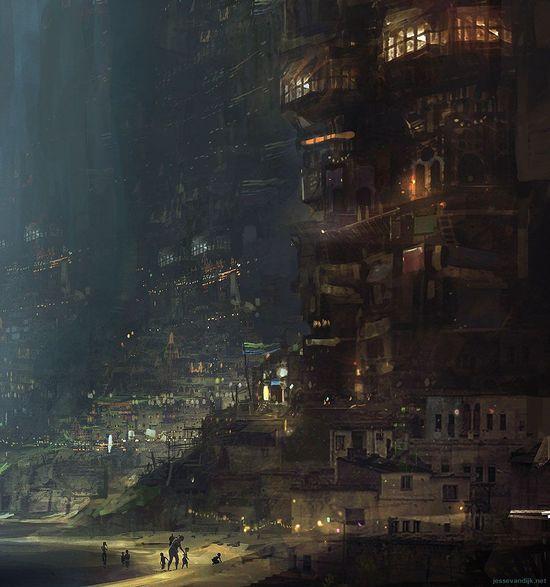 Concept art of a city in a dead volcano