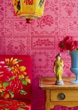 pink red and yellow room