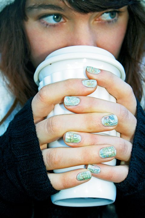 Map nails. i wanna try this. maybe something other than a map