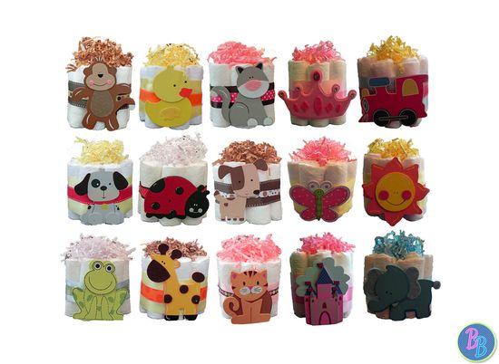 Mini Diaper Cakes  Unique Baby Shower Gift by BabyBinkz on Etsy, $10.50