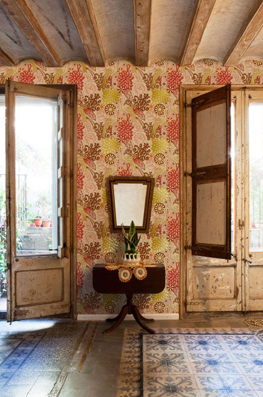 old wood and wallpaper