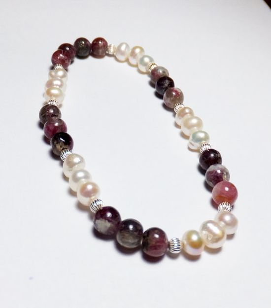 Pink-Purple Tourmaline Bracelet with Freshwater Pearls and Sterling Silver by Designs by Tamiza, tzteja on Etsy, $20.00 #jewelry, #bracelet, #beaded, #designsbytamiza, #noclasp, #handmade, #ooak, #stretchbracelet, #pink, #purple, #pearlbracelet, #pearl, #silver