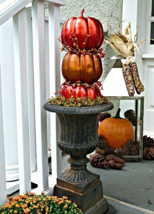 Pumpkin Topiary: Cute Fall Porch Decor Ideas