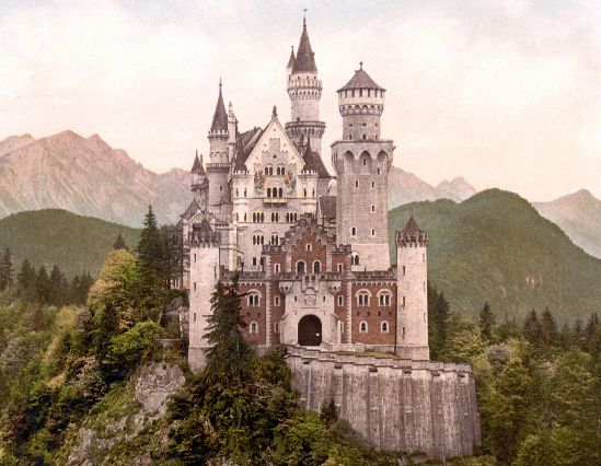 The Neuschwanstein castle in Bavaria, Germany.