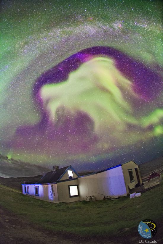 """""""Late August 2012 aurora in the shape of a goat's head, over Tasiusaq, Kujalleq, Greenland. Just to the left, near eye-level of the goat, in the clear portion of the sky is M31, the Andromeda Galaxy. The band of the Milky Way stretches across the top  of the image."""" - looks more like FALKOR to me"""