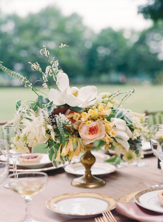 gorgeous magnolia garden + golden centerpiece by Amy Osaba