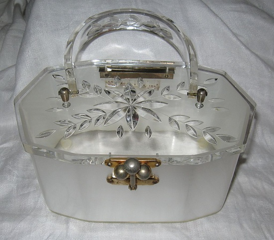Vintage 1950's Silver and White Lucite Purse