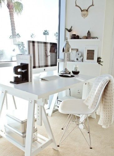Office Space - All White Desk + Beautiful