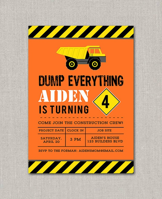 Construction Birthday Invitation - Dump everything Kenny is turning 3!