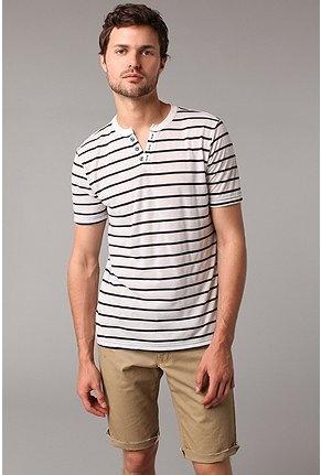 Stripe Cutaway Henley