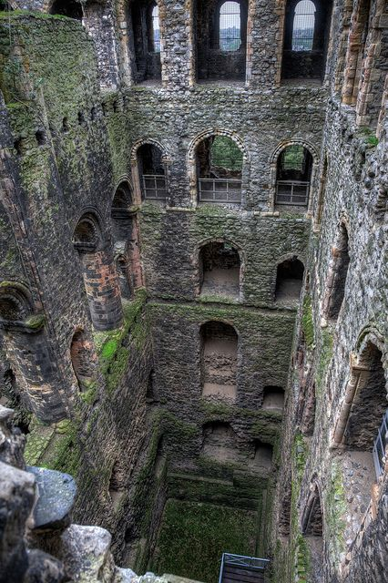 Interior depths of Rochester Castle, Kent, England