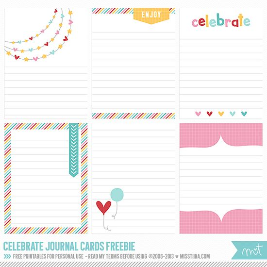 Free Celebrate Journal Cards from MissTiina.con