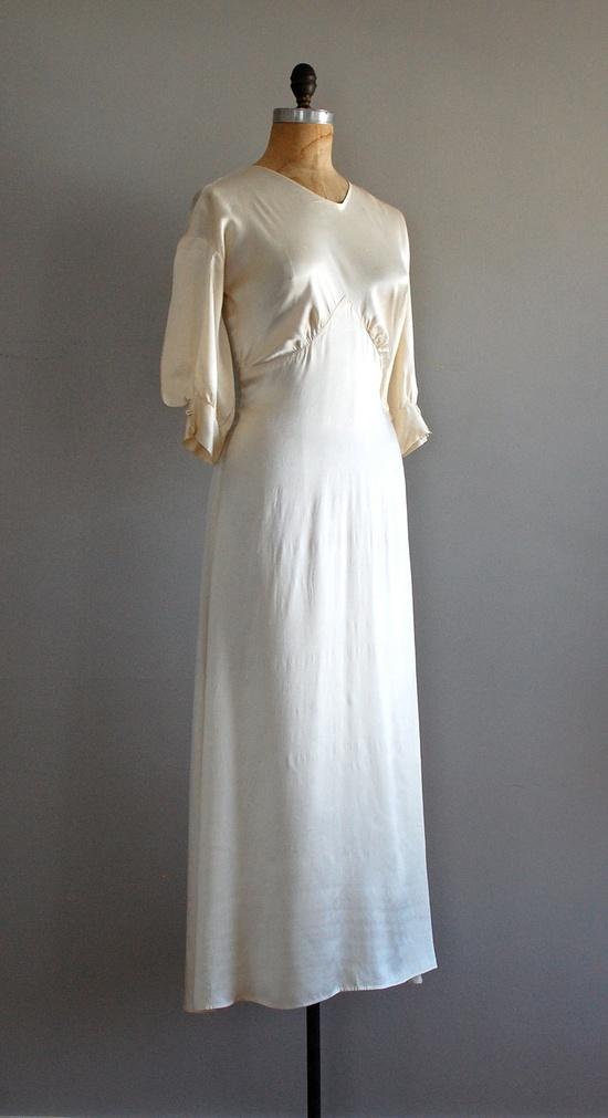 1930s wedding dress / 30s dress / bias silk / Nascent Silk gown. $1,450.00, via Etsy.