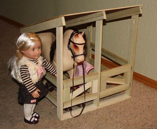 American Girl or 18 Doll Horse Stable by AlainasAdirondacks, $89.00